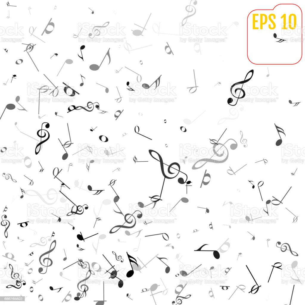 Vector falling notes background frame of treble clefs bass clefs frame of treble clefs bass clefs and musical notes biocorpaavc Gallery