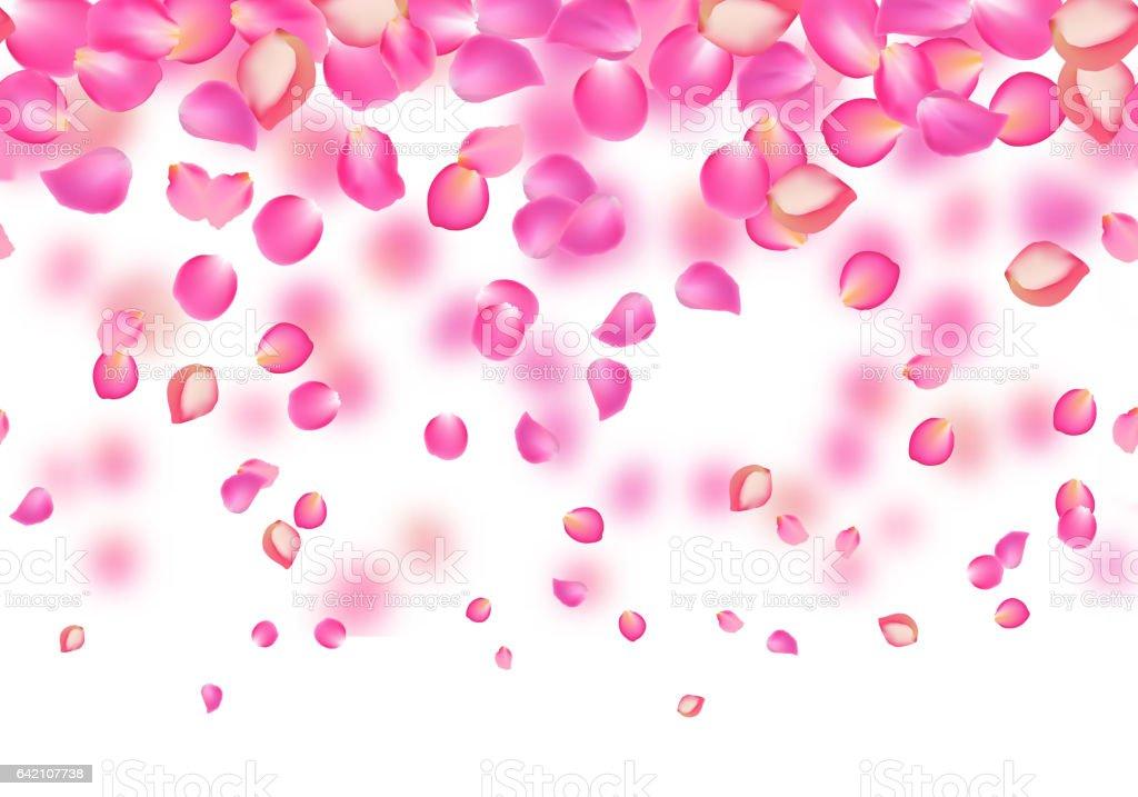 vector falling rose pink petals floral background royalty free vector falling rose pink petals - Floral Backgrounds