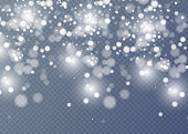 istock Vector falling snow effect isolated on transparent background with blurred bokeh. 865688196
