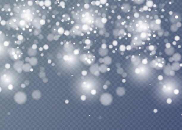 Vector falling snow effect isolated on transparent background with blurred bokeh. Vector falling snow effect isolated on transparent background with blurred bokeh. isolated color stock illustrations