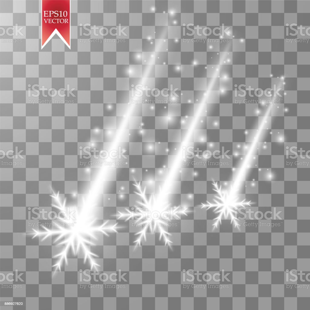 Vector falling snow effect isolated on transparent background with blurred bokeh vector art illustration