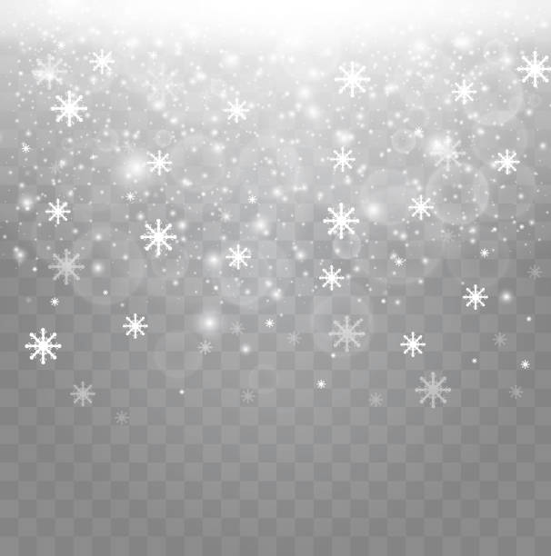 vector falling snow effect isolated on transparent background with blurred bokeh - double exposure stock illustrations