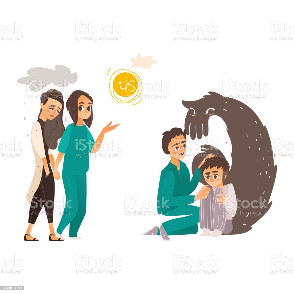 vector falt doctor and mental patients set vector art illustration