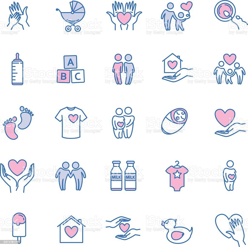 vector family and children thin line icons set vector art illustration