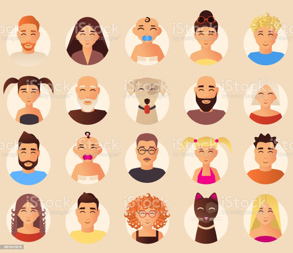 Vector family avatars icons set in flat style vector art illustration