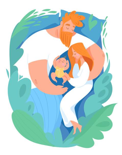 bildbanksillustrationer, clip art samt tecknat material och ikoner med vector familjekort med sovande mor, far och barn - baby sleeping