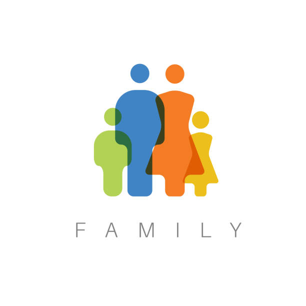 vector family concept illustration - abstract silhouettes stock illustrations