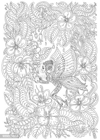 Vector fantastic butterfly woman pixie silhouette with teapot.  Fairy exotic blooming garden,  flowers, leaves. Dark grey contour thin drawing. Black and White. Coloring book for adults vertical page. Batik paint