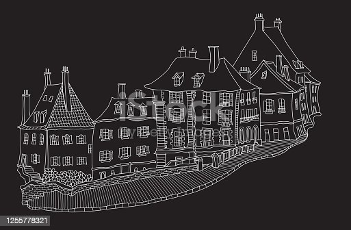 Vector fantasy European urban landscape with medieval old town castle house, fairy tale buildings, paved street. Hand drawn white doodle sketch on a black background. Tee shirt print, travel brochure cover