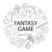 Vector fantasy game pattern with word. Fantasy game background