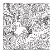 Vector fantasy landscape. Fairy tale old medieval town, house, fir trees.  Hand drawn sketch snowflakes. T-shirt print. Coloring book page for adults and children. Black and white. Christmas and New Year greeting card