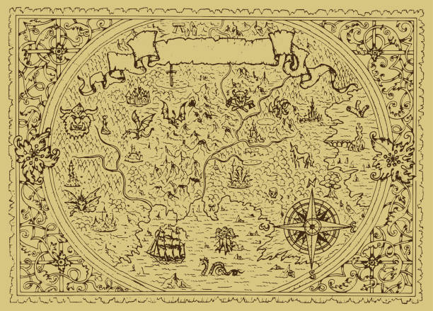 Vector fantasy map with baroque decorative frame and mythology creatures. vector art illustration