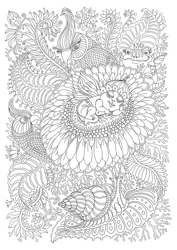 Vector fantasy pixie baby with butterfly wings, fantastic chamomile flower, tropical leaves, garden herbs, foliage. Black and white. Stylized Indian parrot, fairy frog, snail. T-shirt print. Adults coloring book page