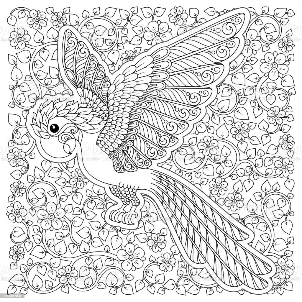 Coloriage Anti Stress Perroquet.Fantastique Vecteur Stylises Silhouette De Perroquet