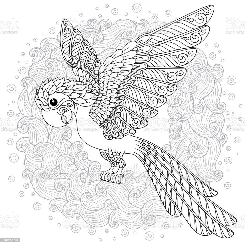 vector fantasy stylized cockatoo jungle parrot silhouette