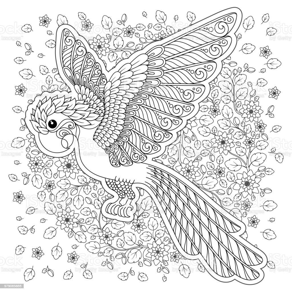 Ilustración de Fantasía De Vector Estilizada Silueta De Loros ...