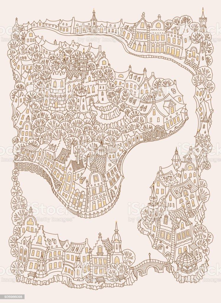 Kleurplaten Voor Volwassenen Stad.Vector Fantasie Stedelijk Landschap Met Kleine Middeleeuwse Europese