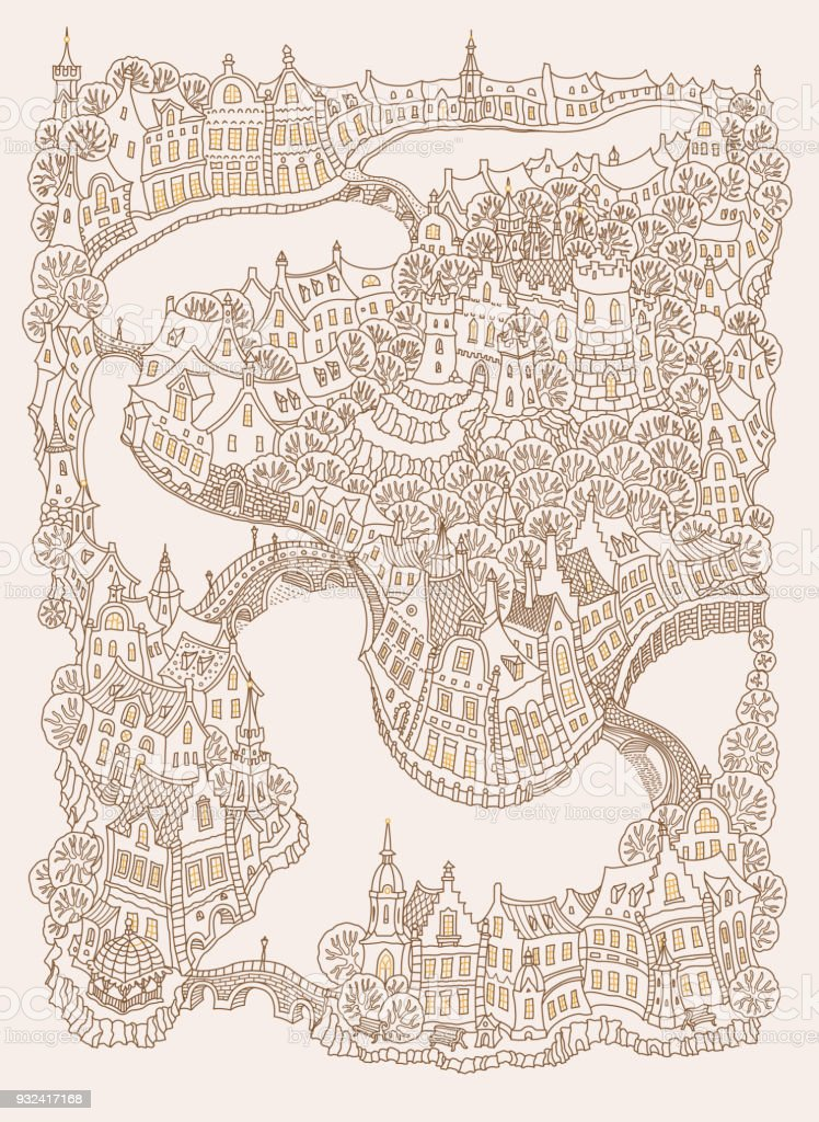 Vector fantasy urban landscape with small medieval European buildings. Fairy tale old town street, houses. Hand drawn doodle sketch. Tee shirt brown and beige print, adults coloring book page vector art illustration