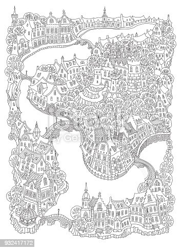 Vector fantasy urban landscape with small medieval European buildings. Fairy tale old town street, houses. Hand drawn doodle sketch. Tee shirt black and white print, brochure cover, adults coloring book page