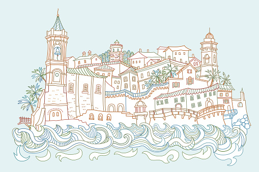Vector fantasy urban Mediterranean landscape with sea waves, medieval European old town castle, fairytale buildings. Hand drawn doodle sketch. Tee shirt print, brochure cover, adults coloring book page