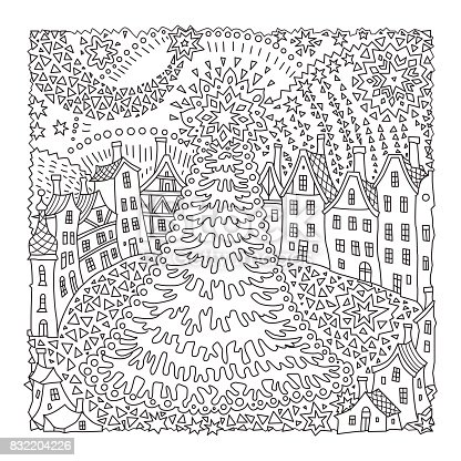 Vector fantasy urban winter  landscape. Fairy tale fir tree, old medieval town, houses. Hand drawn sketch snowflakes. T-shirt print. Coloring book page for adults and children. Black and white