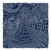 Vector fantasy urban winter landscape. Fairy tale fir tree, old medieval town, houses. Hand drawn sketch snowflakes. T-shirt print. White contour line on a dark blue background. Christmas greeting card