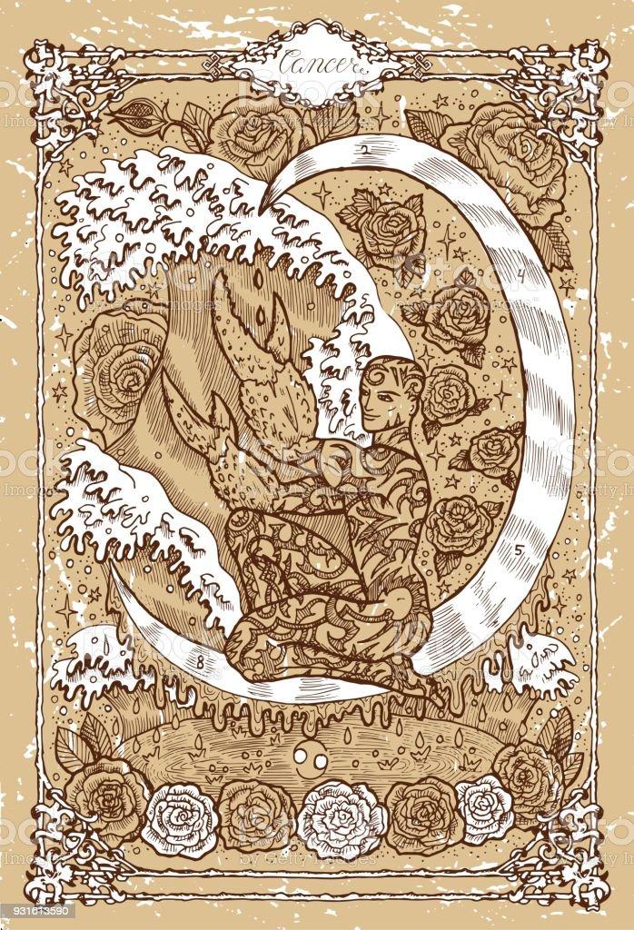 Ilustración de Signo Del Zodiaco De Fantasía Cáncer En Marco Gótico ...