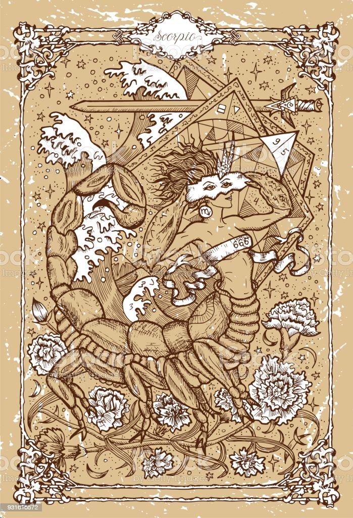 Vector Fantasy Zodiac sign Scorpion in gothic frame on texture