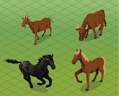 Vector farm animal images of horses, a cow and a goat