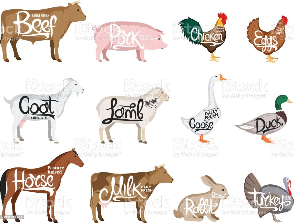 vector farm animals collection butchery icon templates stock vector
