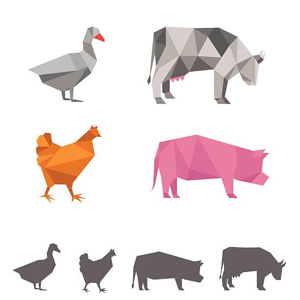vektor tiere auf der farm, origami - hochschulgetränke stock-grafiken, -clipart, -cartoons und -symbole