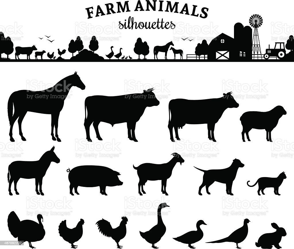 Vettoriale silhouette di animali da fattoria isolato su bianco - illustrazione arte vettoriale