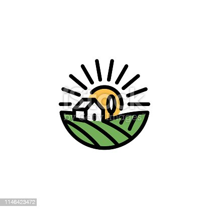 Vector farm house icon template. Line organic farming symbol illustration with field, sun, rays. Circle natural food logo background for healthy fresh eco products, farmers market