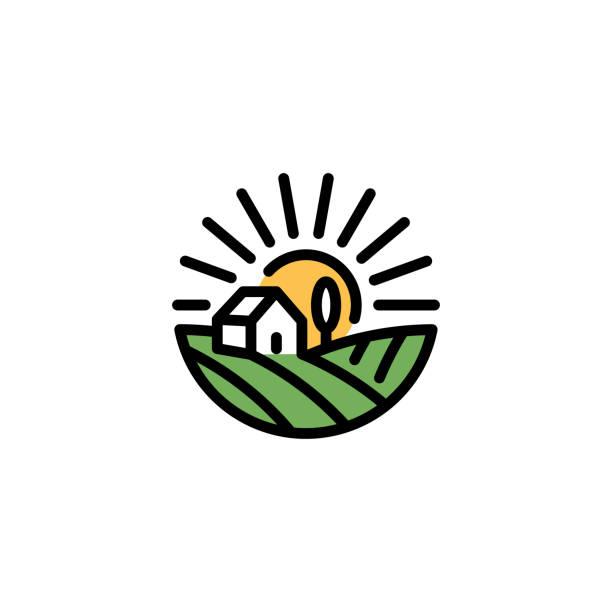 벡터 농장 필드 집 아이콘 - 농장 stock illustrations