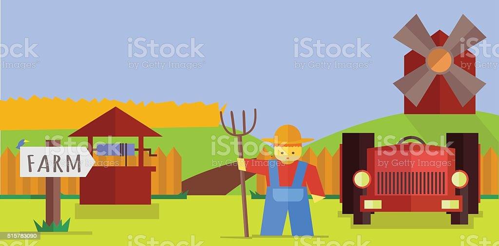 Vector de ilustración de la granja - ilustración de arte vectorial