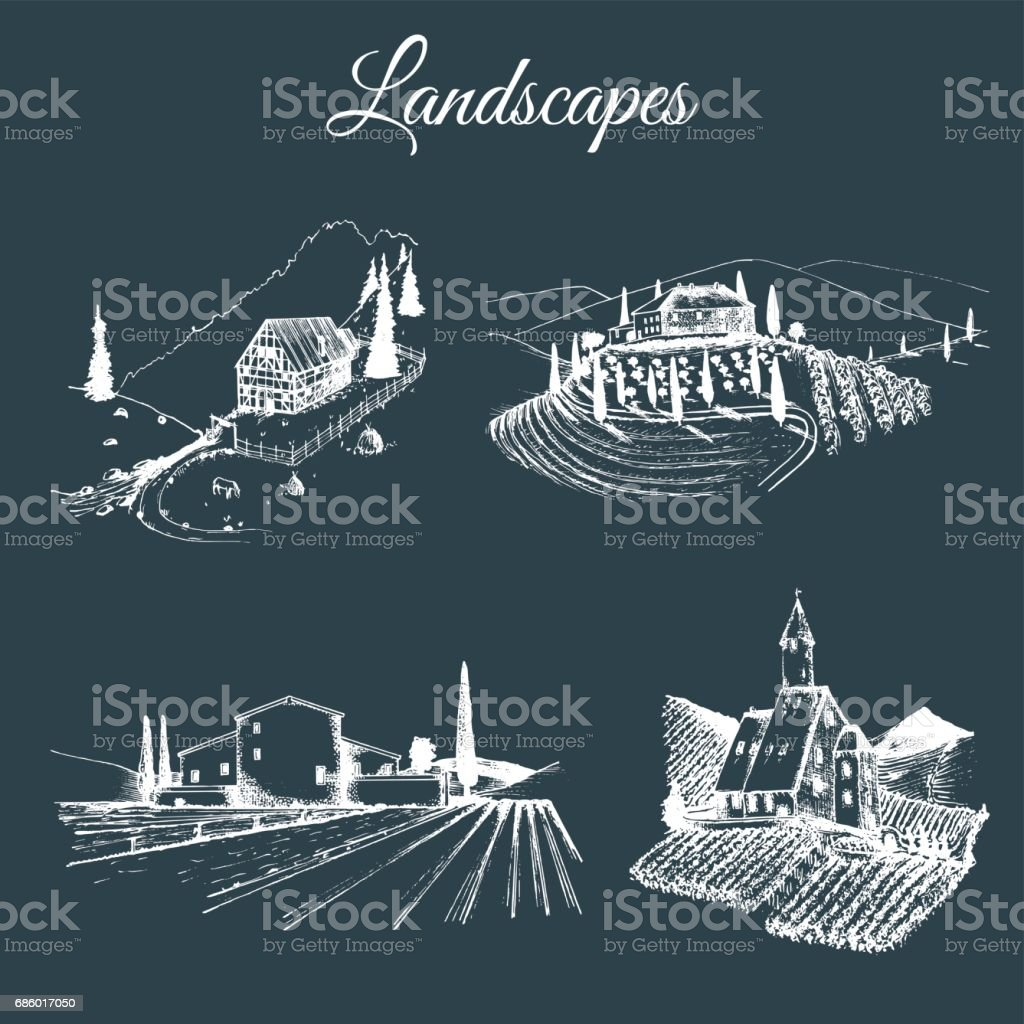 Vector farm landscapes illustrations set. Hand drawn countryside. Sketches of villa, vineyard, abbey, agricultural homestead in mountains, fields and hills.