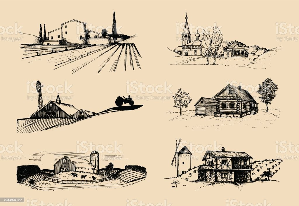 Vector farm landscapes illustrations set. Sketches of villa, homestead in fields and hills. Russian countryside. vector art illustration