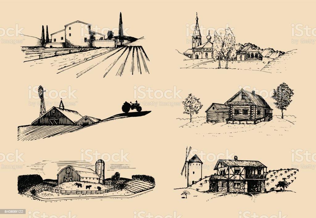 Vektor-Bauernhof Landschaften Illustrationen Set. Skizzen von Villa, Gehöft in Felder und Hügel. Russische Landschaft. – Vektorgrafik