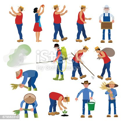 istock Vector farmers in various poses. 679583310
