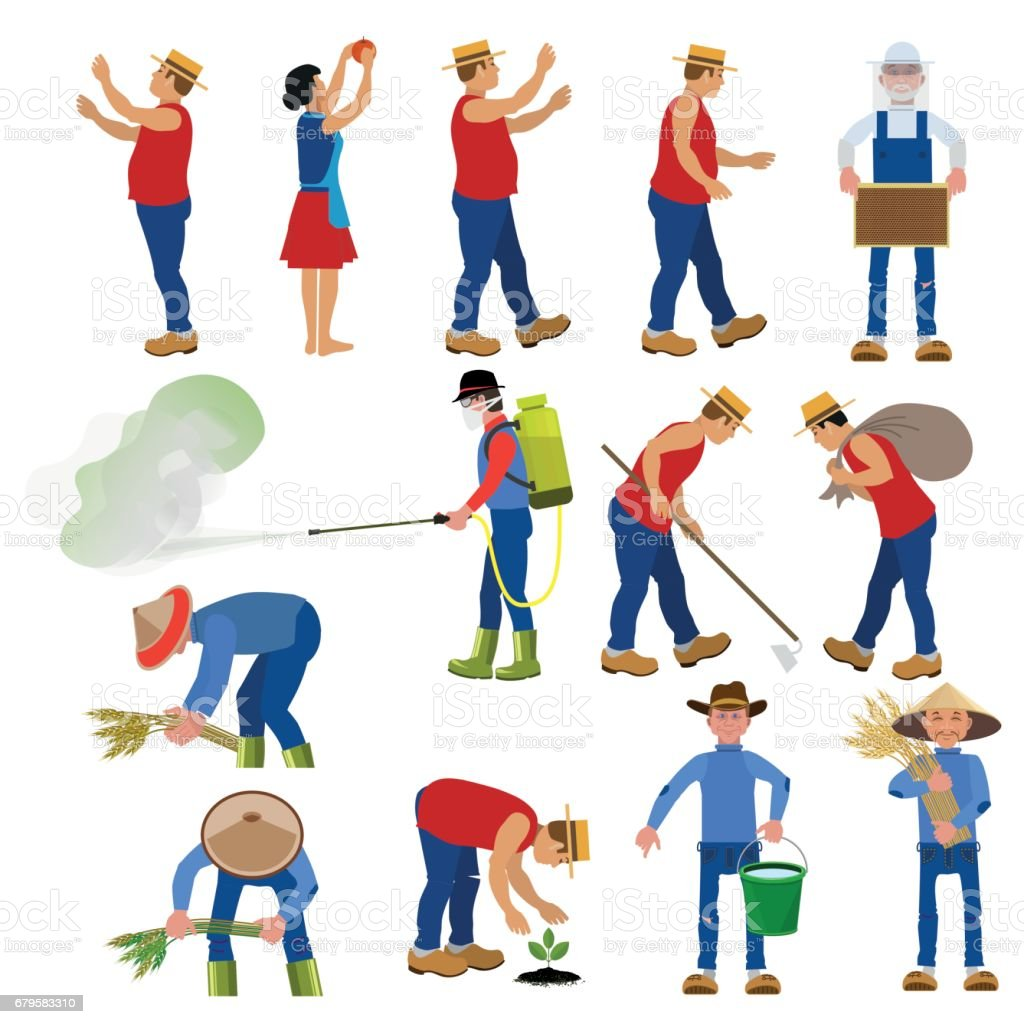 Vector farmers in various poses. vector art illustration