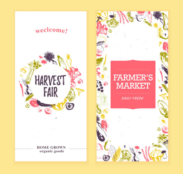 Vector farmers market banners template with frame & round label. Vector farmers market banners template with frame & round label. Hand drawn sketch raw vegetables. Good for farmers market & food fair posters, flayers, advertisements, menu, packaging, price tags etc agricultural fair stock illustrations