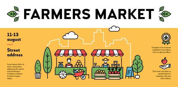 stockillustraties, clipart, cartoons en iconen met vector boerenmarkt evenement poster - bazaar