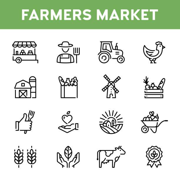 illustrazioni stock, clip art, cartoni animati e icone di tendenza di vector farmers market icon set - farmer