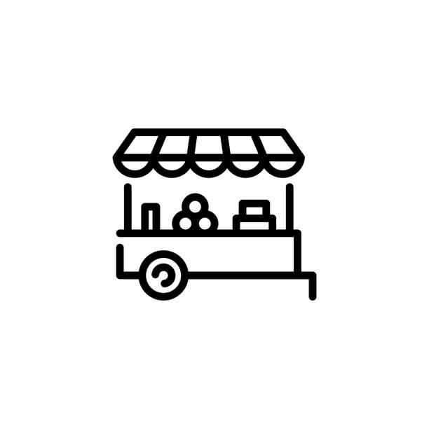 illustrazioni stock, clip art, cartoni animati e icone di tendenza di icona di vector farmers market stall - bancarella