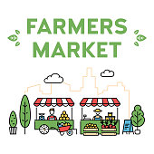 Vector farmers market illustration. Line fruit and vegetable shop banner template. Local farm food stand background. Flat greengrocer store business with organic eco bio products