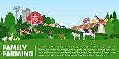 Vector farming illustration. Rural landscape, farm animals and design elements