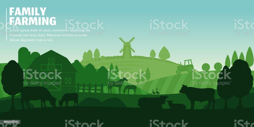 Paysage agricole de vecteur - Illustration vectorielle