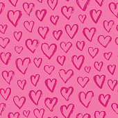 Vector fashion abstract seamless pattern with hearts on Happy Valentines Day. Cartoon doodle illustration background