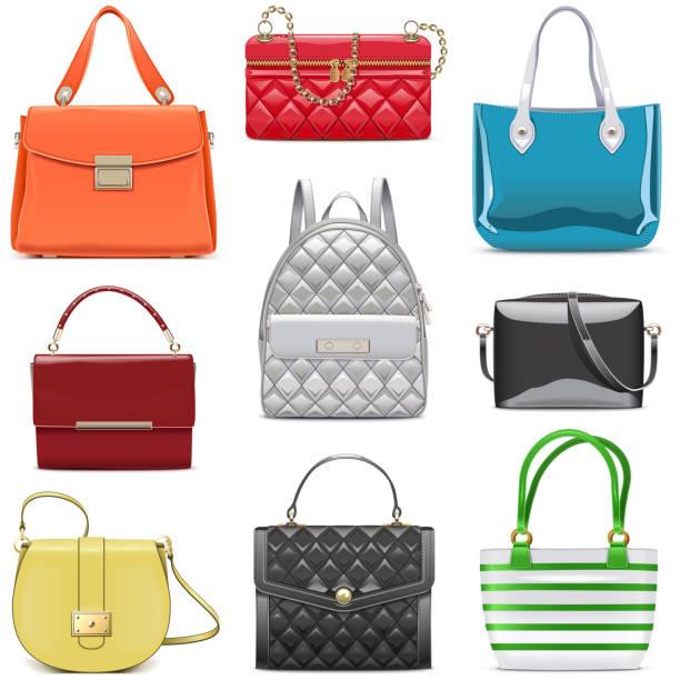 vektor mode frauen handtaschen - lederranzen stock-grafiken, -clipart, -cartoons und -symbole