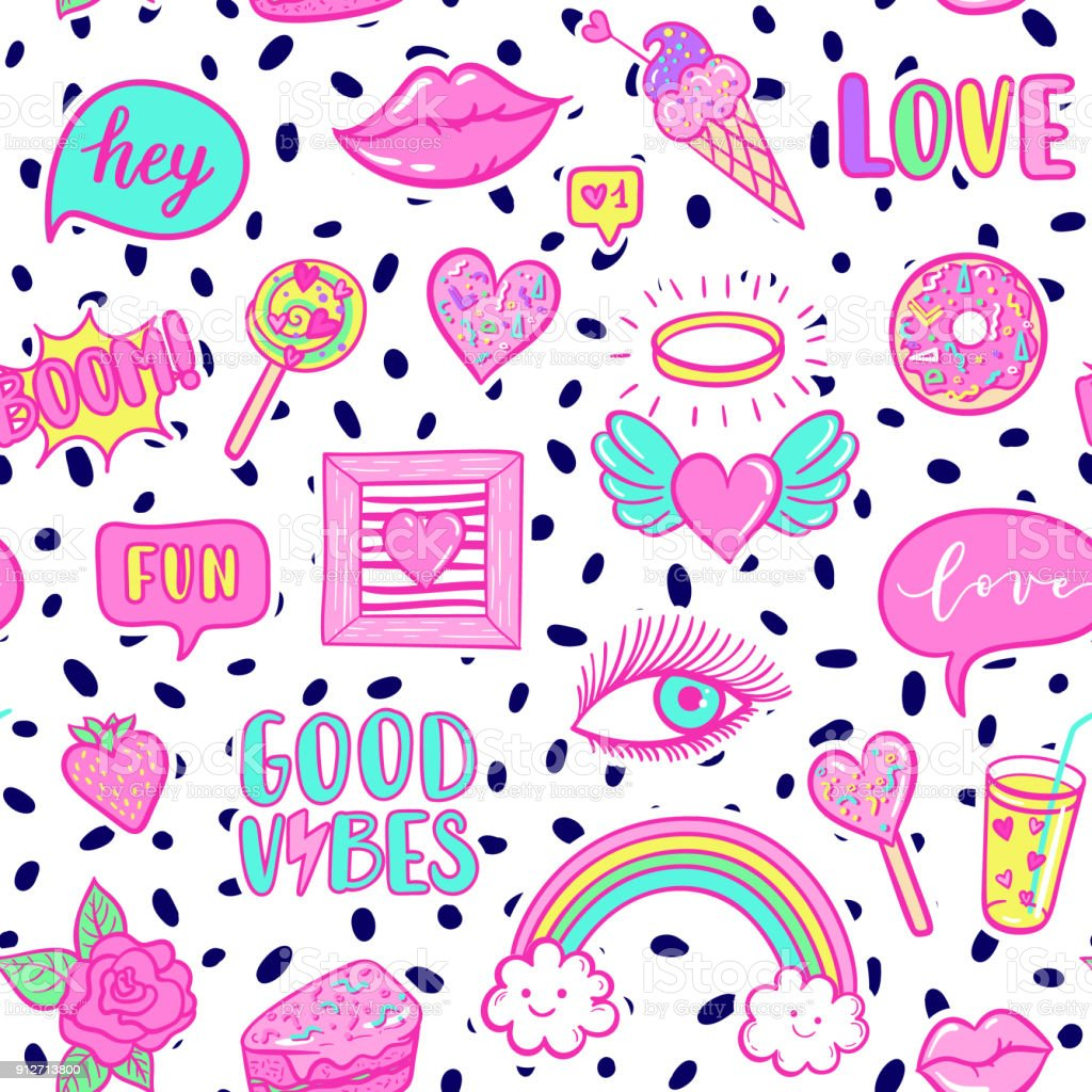 Vector Fashion Fun Patches Seamless Pattern Rainbow Cloud Doughnut Lip Good  Vibes Strawberry Cake Candy Heart Pop Art Pink Stickers For Wedding